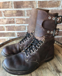 Original Ww2 Army Service Shoes Military Buckle Leather Combat Boots Vtg Read