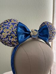 2021 Disney Parks Wdw Annual Passholder Blue Sequined Minnie Mouse Ears Sold Out