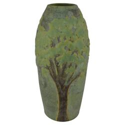 Jemerick Pottery Matte Green Arts And Crafts Scenic Trees Vase