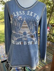 Double D Ranch Fringed Denim Blue Teepee This Land Is Your Land Shirt Top Medium