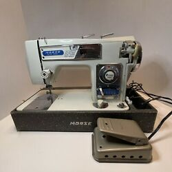 Vintage Morse Fotomatic Iii 4300 Zig Zag Sewing Machine And Heavy Duty W Lid As Is