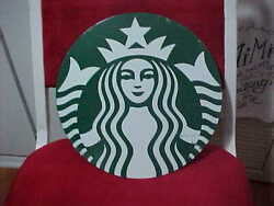 Used Starbucks Advertisement Sign With Mermaid Logo-- Metal 10 Rd Green And White