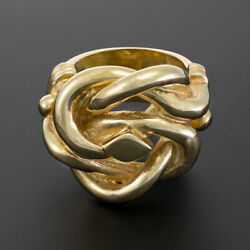 Menand039s 9k Yellow Gold Solid Extra Large Knot Ring - Rrp Andpound2720 {br9_a}  ...