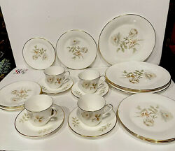 20 Pc Royal Doulton England Yorkshire Rose H5050 Gold Trim Dinner Plates Cups