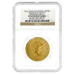 2012 Ascension Island 1 Oz Gold Diamond Jubilee 50 Pound Uhr Coin Ngc Pf 69 Ucam
