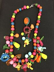 VTG 30s 40s Unsigned HASKELL ? fruits vegetables Bead Multi Necklace NICE