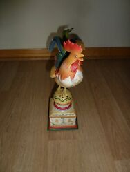 Fitz And Floyd Vintage Ricamo Rooster Figurine Metal Tail Feathers