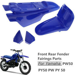 1 Set Plastic Motorcycle Front Rear Fender Kit Fit For Yamaha Pw50 Py50 Blue