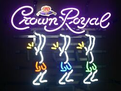 New Crown Royal Dancers Neon Light Sign 20x16 Beer Lamp Bar With Dimmer