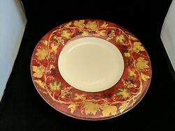 Crate And Barrel Volante Center Piece Bowl Red Gold Grape Vines Leaves 16