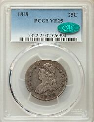 1818 Pcgs Cac Vf25 Capped Bust Quarter Large Size Very Fine Type Coin Silver