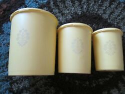 3 Vintage Tupperware Yellow Round Canisters With Servalier Lids