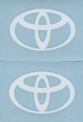 2x TOYOTA Logo 4quot; White Decals Stickers for Cars Trucks Windows Laptops...