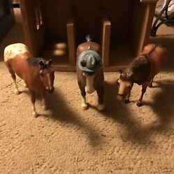 """Wooden Toy Horse Barn With Fencing-with 8 Horses Some Breyer, 18"""" By 14"""" By 17"""""""