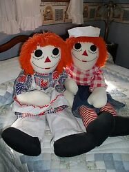 Large 38 Vintage Hand Made Raggedy Ann And Andy Doll