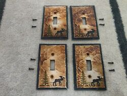 X4 Big Sky Carvers Moose Lodge Cabin Rustic Single Electrical Light Switch Cover