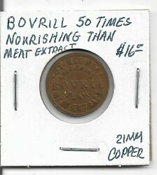 Token Bovril 50 Times Nourishing Than Meat Extract 21mm Copper
