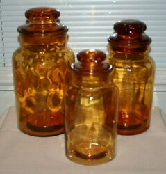 3 Antique Amber Glass Ground Top Apothecary Pharmacy Jars Bottles With Lids