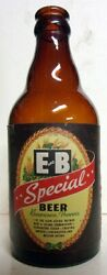 1940and039s E And B Special Beer Steinie Labeled Irtp Bottle - Detroit Mi