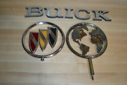 Vintage Custom Made For Commercial Buick Logo Silver World Letters Hood Ornament