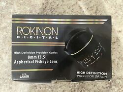 Rokinon 8mm F/3.5 Aspherical Fisheye Lens For Canon Used In Box