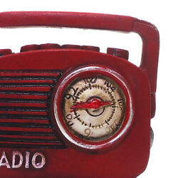 1/12 Mini Metal Red Color Antique Radio Musical Player Dolls House Accs