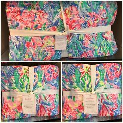 Nwt Pottery Barn And Lilly Pulitzer 3pc Fan Sea Pants F/q Quilt + 2 Euro Shams