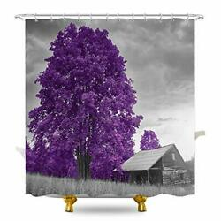 Komllex Rustic Farmhouse Shower Curtain 60wx72h Inches Purple Tree Wooden Hou...