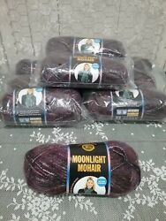 Lion Brand Yarn Moonlight Mohair Purple Mountains Lot Of 9 Skeins New
