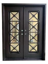 Teza Double Front Entry Iron Door 61.5 X 81 Right Hand Inswing Black Clear