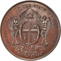 1889 Masonic Grand Lodge Of The State Of New York Medal / Ngc Ms-65 Bn