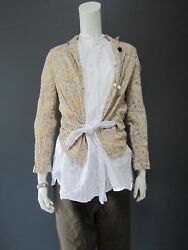 . Daniela Gregis 100 Cotton Jacket New With Tag Yellow Liberty And White Belt