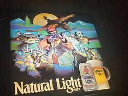Natural Light Beer Hunting Sign Neon Type Lighted Box Vintage Very Rare Bar Ad