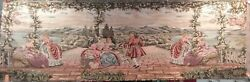 LARGE TAPESTRY COLONIAL SCENE 28quot;x95quot; NICE DETAIL EUROPEAN LADIES ON THE LAKE