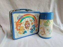 Care Bears Metal Lunchbox With Thermos Vintage By Alladin 1980's