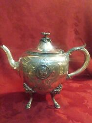 Antique Victorian Rogers Smith Silver Plate Medallion Teapot On Lion Feet C.1868