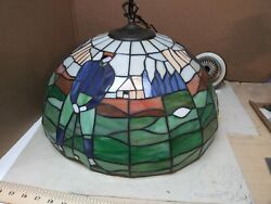 Vintage 18andrdquo Golfers Designed Stained Glass Hanging Ceiling Lamp / Shade