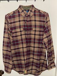 Polo Whitfield Mens Button Front Shirt Size Small Custom Fit Plaid
