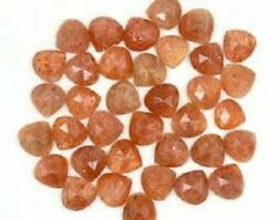 Natural Sunstone Heart Rose Cut Loose Gemstone 6x6mm To 10x10mm High Quality