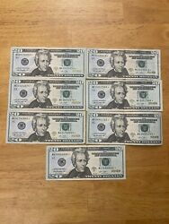 20 Dollar Bill Star Note 7 Pieces Lot Set 2013 Banknote Paper Money Currency