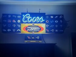 Coors Neon Beer Magnetic Sign Abc Monday Night Football Bar Lighted Vintage Rare