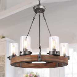 Lnc Farmhouse Chandelier Wood Round Wagon Wheel 6-light Fixture With Seeded For