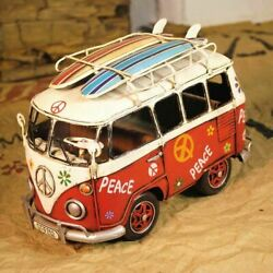 Vintage Vw Decorative Bus Van Tin With Surfboards Toy Home Decor Blue Peace Sign