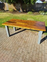 Country Rustic Reclaimed Barn Wood Kitchen Dining Table Handmade Salvaged