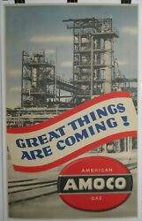 Vintage 1940s Great Things Are Coming Amoco Gas 43x27 Poster Free Shipping