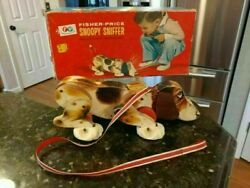 Vintage Fisher Price 181 Snoopy Sniffer Wood Wheels Original Box No Tail