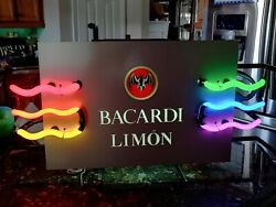 Bacardi Limon Multi Colored Neon Rum Sign Glass Beer Bar Man Cave Local Pickup