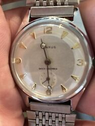 Vintage Mens Benrus Shock Absorber Wrist Watch With Diamond Hands. Works