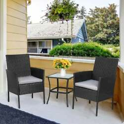 Outdoor Wicker Patio Porch Furniture Dining Set 3 Pieces 2 Chairs W/ Table Grey