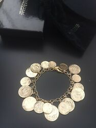 New In Box Joan Rivers Imperial Russian Gold Tone Coins Bracelet